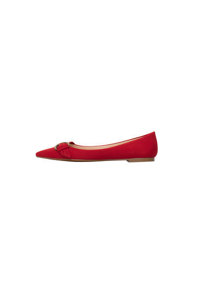 Suede Ballerina - predominant colour: true red; occasions: casual, creative work; material: suede; heel height: flat; embellishment: buckles; toe: pointed toe; style: ballerinas / pumps; finish: plain; pattern: plain; season: s/s 2016; wardrobe: highlight