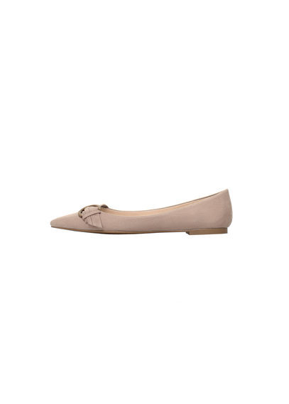 Suede Ballerina - predominant colour: taupe; occasions: casual, work, creative work; material: suede; heel height: flat; embellishment: buckles; toe: pointed toe; style: ballerinas / pumps; finish: plain; pattern: plain; season: s/s 2016; wardrobe: basic