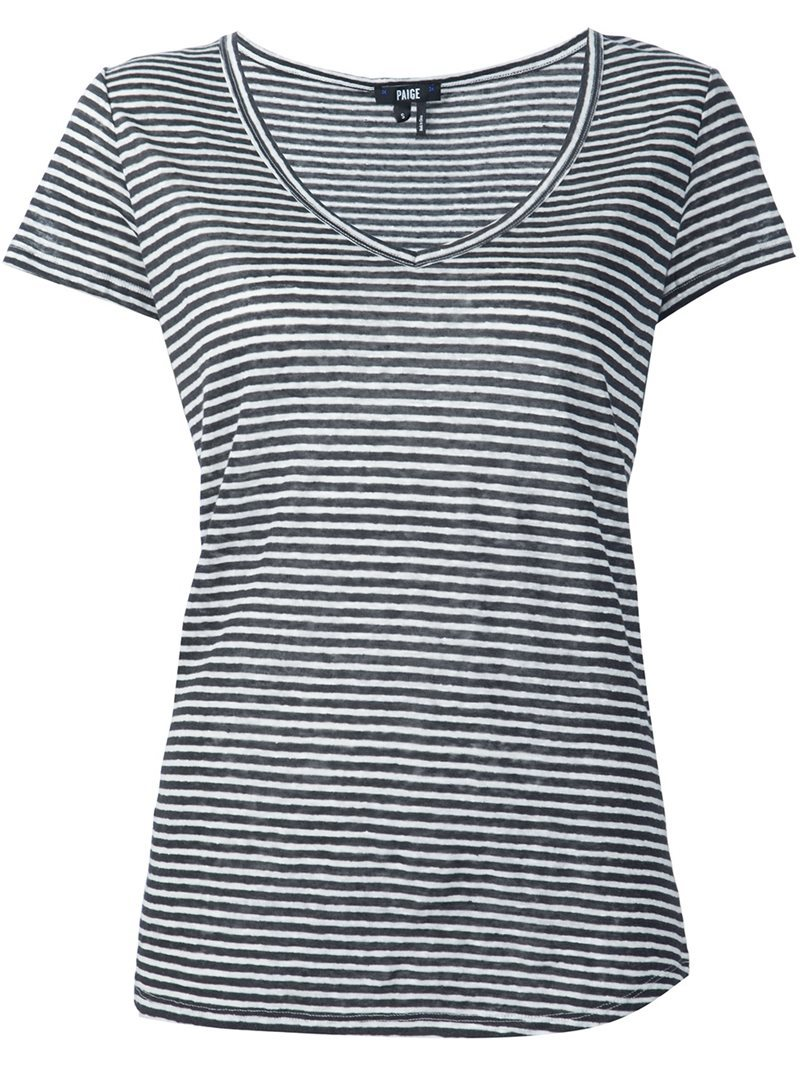 V Neck T Shirt, Women's, Size: Medium, Black - neckline: v-neck; pattern: horizontal stripes; style: t-shirt; secondary colour: white; predominant colour: mid grey; occasions: casual; length: standard; fibres: linen - 100%; fit: body skimming; sleeve length: short sleeve; sleeve style: standard; pattern type: fabric; texture group: jersey - stretchy/drapey; multicoloured: multicoloured; season: s/s 2016; wardrobe: basic