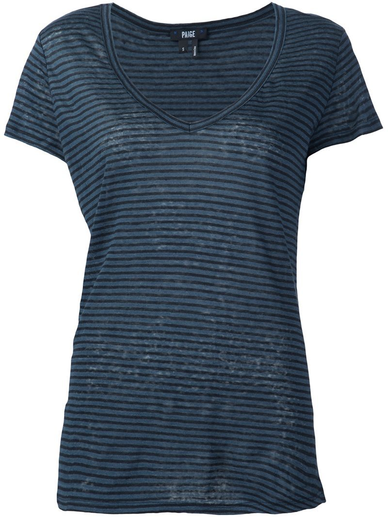 V Neck T Shirt, Women's, Size: Small, Blue - neckline: v-neck; pattern: horizontal stripes; style: t-shirt; predominant colour: navy; occasions: casual; length: standard; fibres: linen - 100%; fit: body skimming; sleeve length: short sleeve; sleeve style: standard; pattern type: fabric; texture group: jersey - stretchy/drapey; season: s/s 2016; wardrobe: basic