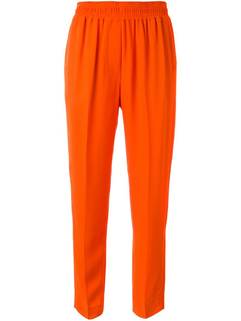 Tapered Trousers, Women's, Yellow/Orange - length: standard; pattern: plain; style: peg leg; waist: mid/regular rise; predominant colour: bright orange; occasions: casual; fibres: viscose/rayon - stretch; fit: tapered; pattern type: fabric; texture group: woven light midweight; season: s/s 2016; wardrobe: highlight