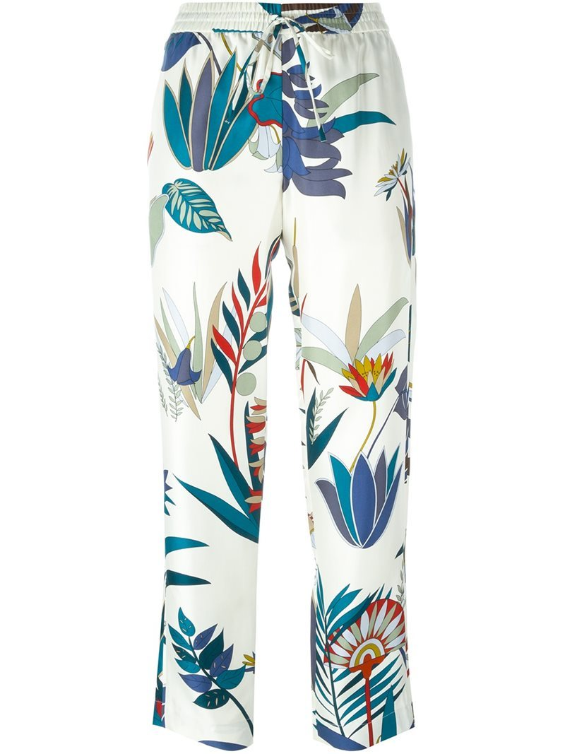 Botanical Print Pants, Women's, White - length: standard; style: palazzo; waist: mid/regular rise; predominant colour: white; secondary colour: navy; occasions: casual; fibres: silk - 100%; fit: wide leg; pattern type: fabric; pattern: florals; texture group: woven light midweight; pattern size: big & busy (bottom); multicoloured: multicoloured; season: s/s 2016