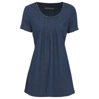 Denim Tunic Navy - neckline: round neck; pattern: plain; length: below the bottom; style: tunic; predominant colour: navy; occasions: casual; fibres: cotton - 100%; fit: body skimming; sleeve length: short sleeve; sleeve style: standard; pattern type: fabric; texture group: jersey - stretchy/drapey; season: s/s 2016; wardrobe: basic