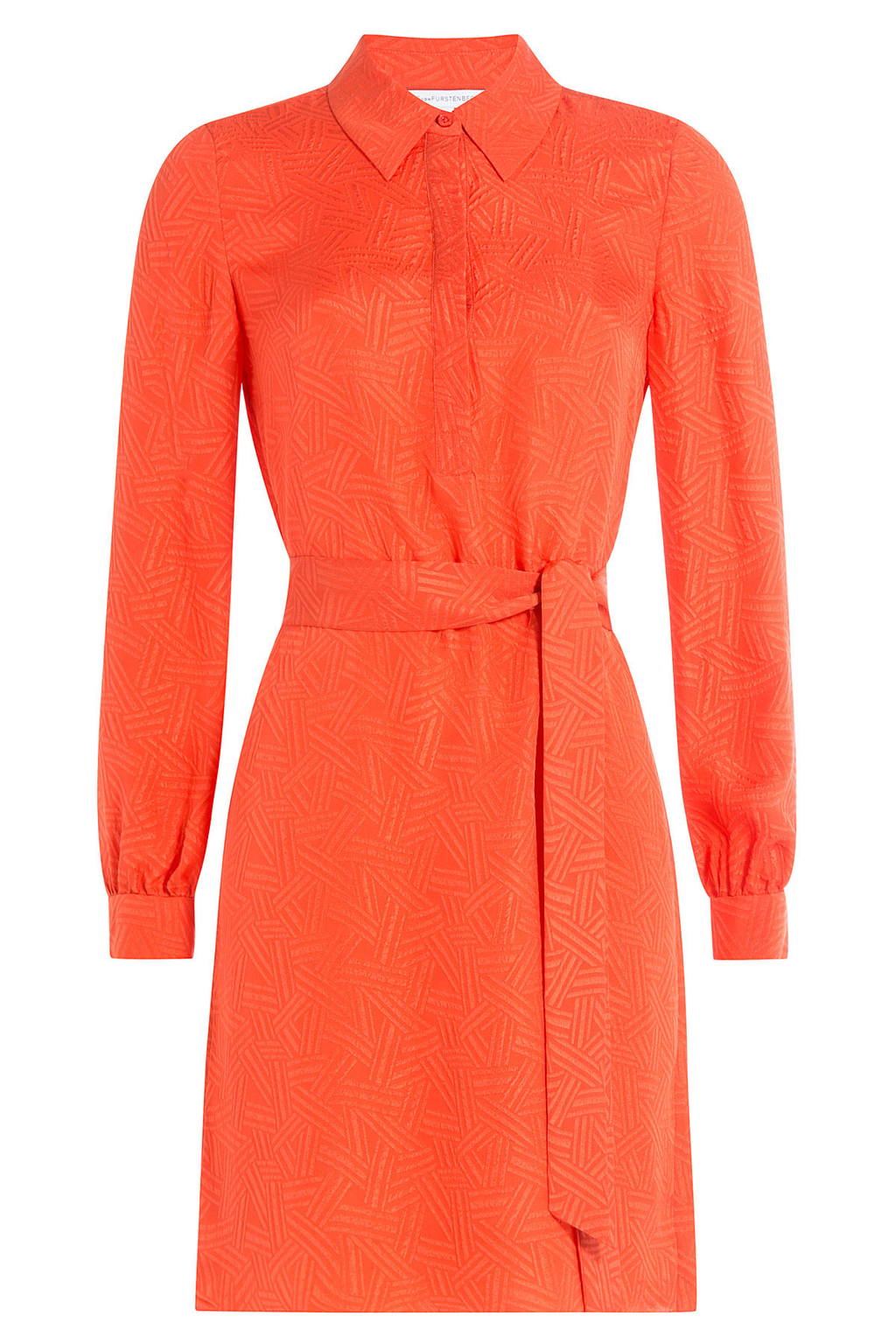 Silk Dress - style: shirt; neckline: shirt collar/peter pan/zip with opening; pattern: plain; waist detail: belted waist/tie at waist/drawstring; predominant colour: bright orange; occasions: evening; length: just above the knee; fit: body skimming; fibres: silk - 100%; sleeve length: long sleeve; sleeve style: standard; texture group: silky - light; pattern type: fabric; season: s/s 2016; wardrobe: event