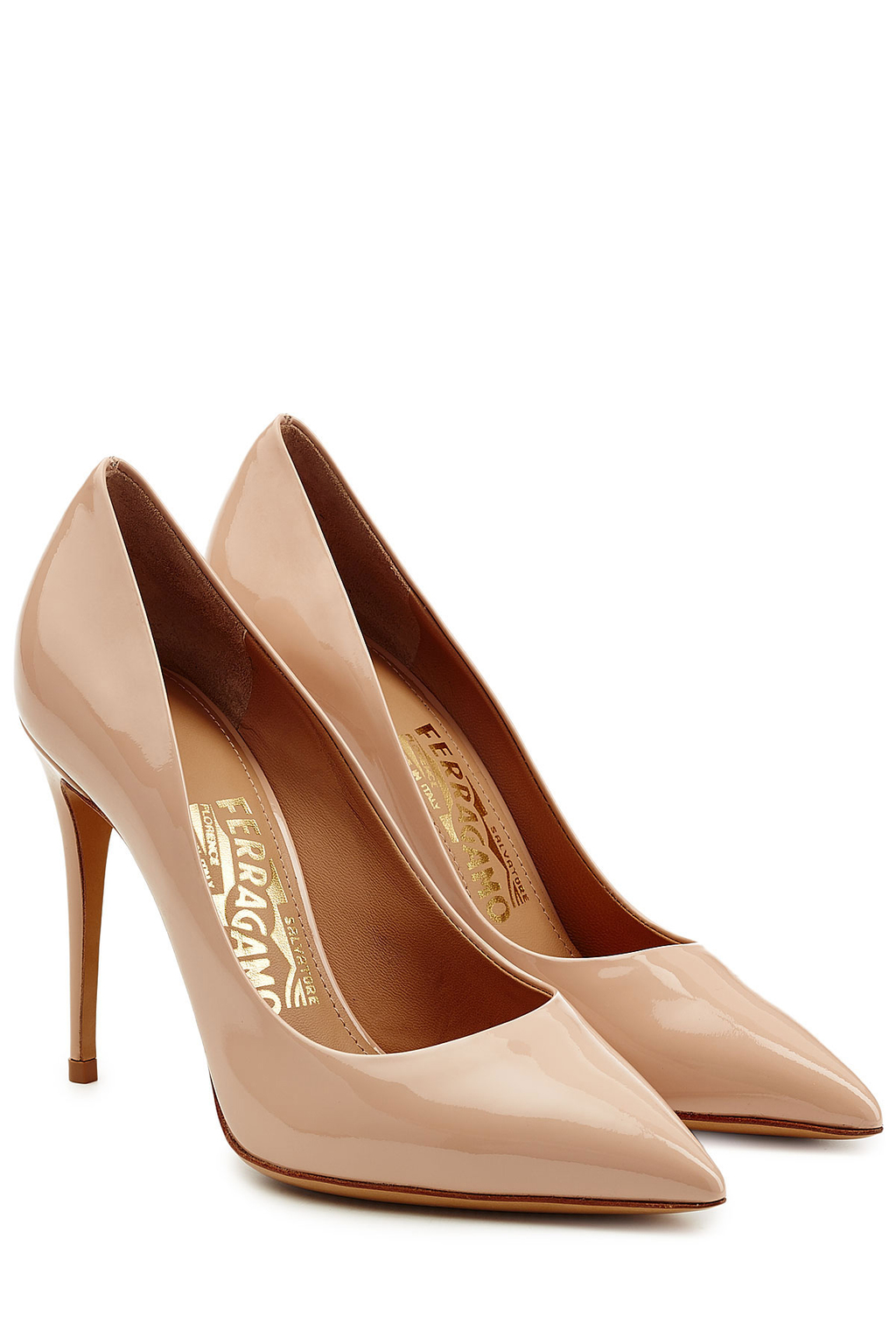 Patent Leather Pumps Rose - predominant colour: nude; occasions: evening; material: fabric; heel height: mid; heel: stiletto; toe: open toe/peeptoe; style: courts; finish: patent; pattern: plain; season: s/s 2016