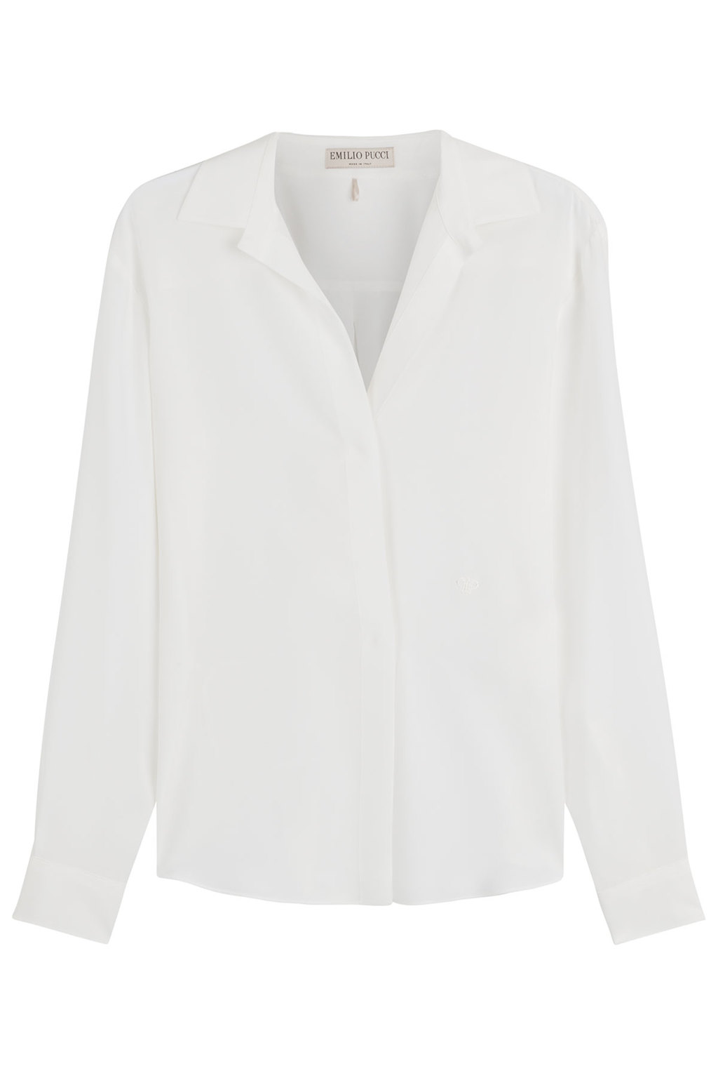 Silk Blouse - neckline: shirt collar/peter pan/zip with opening; pattern: plain; style: blouse; predominant colour: white; occasions: evening; length: standard; fibres: silk - 100%; fit: body skimming; sleeve length: long sleeve; sleeve style: standard; texture group: silky - light; pattern type: fabric; season: s/s 2016; wardrobe: event