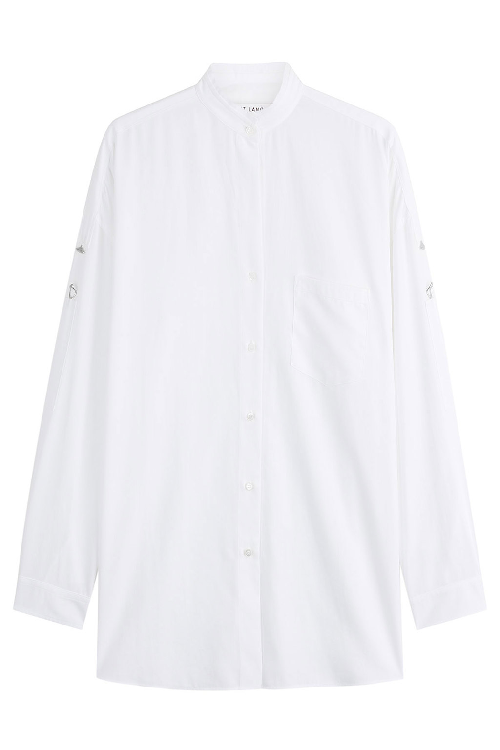 Cotton Shirt - pattern: plain; length: below the bottom; style: shirt; predominant colour: white; occasions: casual; neckline: collarstand; fibres: cotton - 100%; fit: body skimming; sleeve length: long sleeve; sleeve style: standard; texture group: cotton feel fabrics; pattern type: fabric; season: s/s 2016; wardrobe: basic
