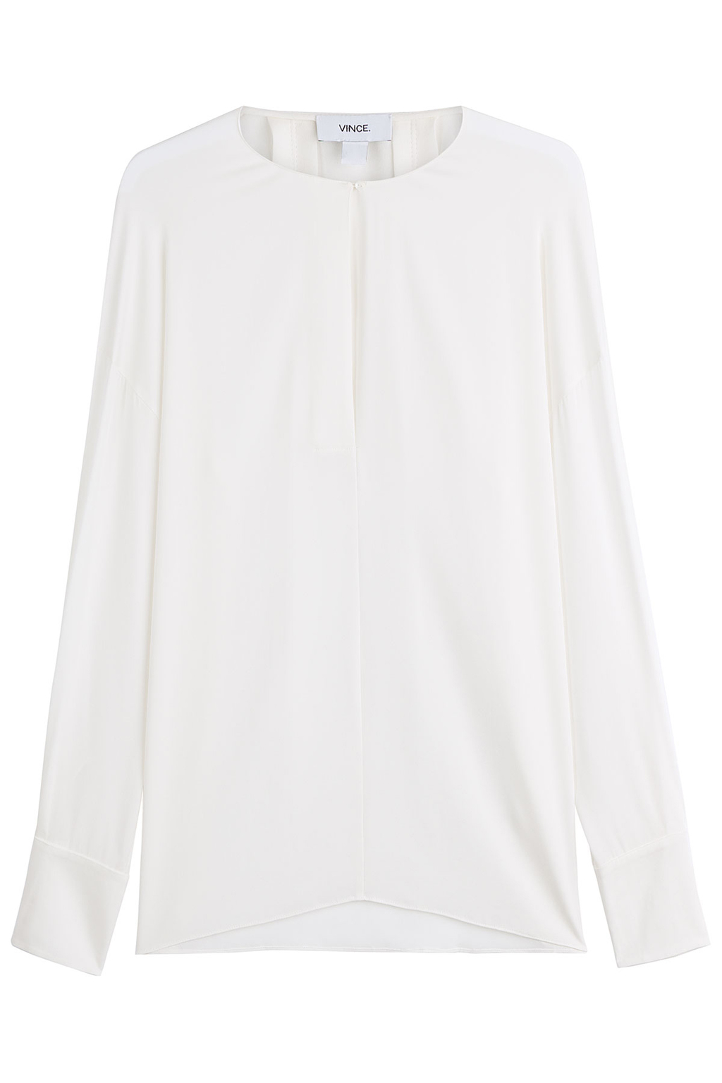Silk Blouse - pattern: plain; style: blouse; predominant colour: white; occasions: evening; length: standard; fibres: silk - 100%; fit: body skimming; neckline: crew; sleeve length: long sleeve; sleeve style: standard; texture group: silky - light; pattern type: fabric; season: s/s 2016; wardrobe: event