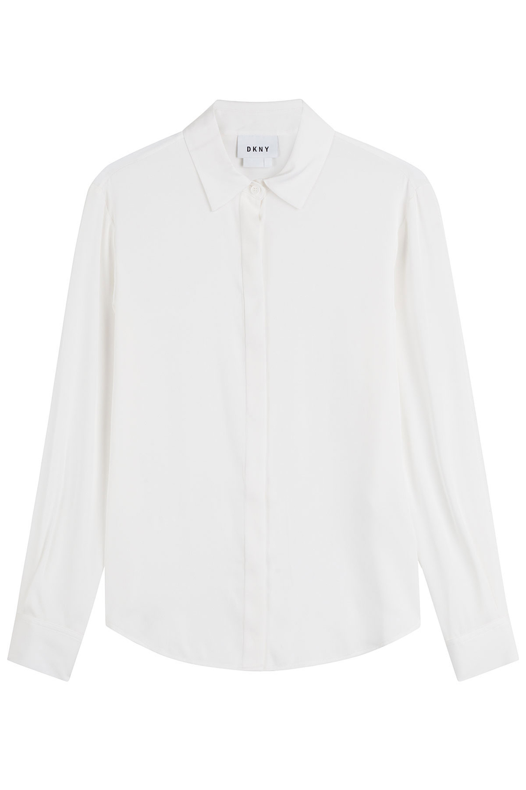 Silk Shirt - neckline: shirt collar/peter pan/zip with opening; pattern: plain; style: shirt; predominant colour: white; occasions: evening; length: standard; fibres: silk - 100%; fit: body skimming; sleeve length: long sleeve; sleeve style: standard; texture group: silky - light; pattern type: fabric; season: s/s 2016; wardrobe: event