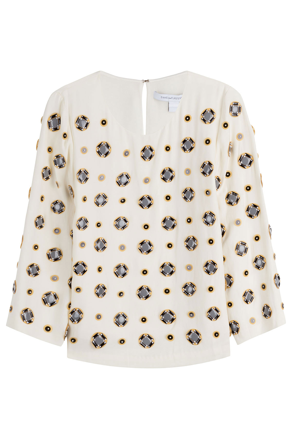 Embellished Silk Blend Blouse White - style: blouse; predominant colour: white; secondary colour: black; occasions: casual; length: standard; fibres: cotton - mix; fit: body skimming; neckline: crew; sleeve length: long sleeve; sleeve style: standard; texture group: silky - light; pattern type: fabric; pattern: patterned/print; multicoloured: multicoloured; season: s/s 2016