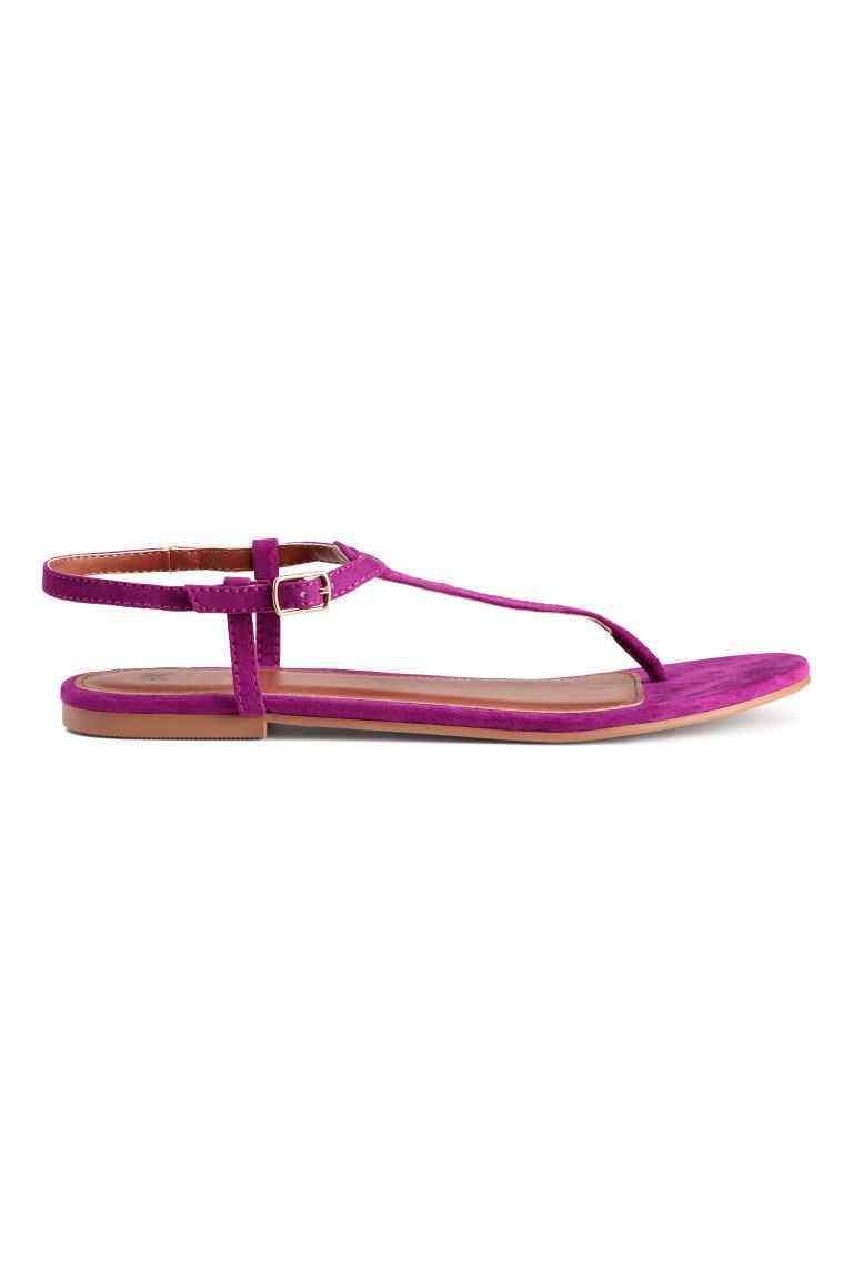 Toe Post Sandals - predominant colour: hot pink; occasions: casual, holiday; material: faux leather; heel height: flat; ankle detail: ankle tie; heel: standard; toe: toe thongs; style: strappy; finish: plain; pattern: plain; season: s/s 2016; wardrobe: highlight