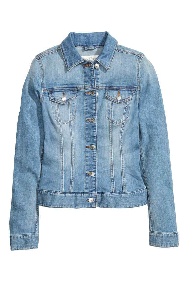 Denim Jacket - pattern: plain; style: denim; fit: slim fit; predominant colour: denim; occasions: casual; length: standard; fibres: cotton - stretch; collar: shirt collar/peter pan/zip with opening; sleeve length: long sleeve; sleeve style: standard; texture group: denim; collar break: high/illusion of break when open; pattern type: fabric; season: s/s 2016; wardrobe: basic