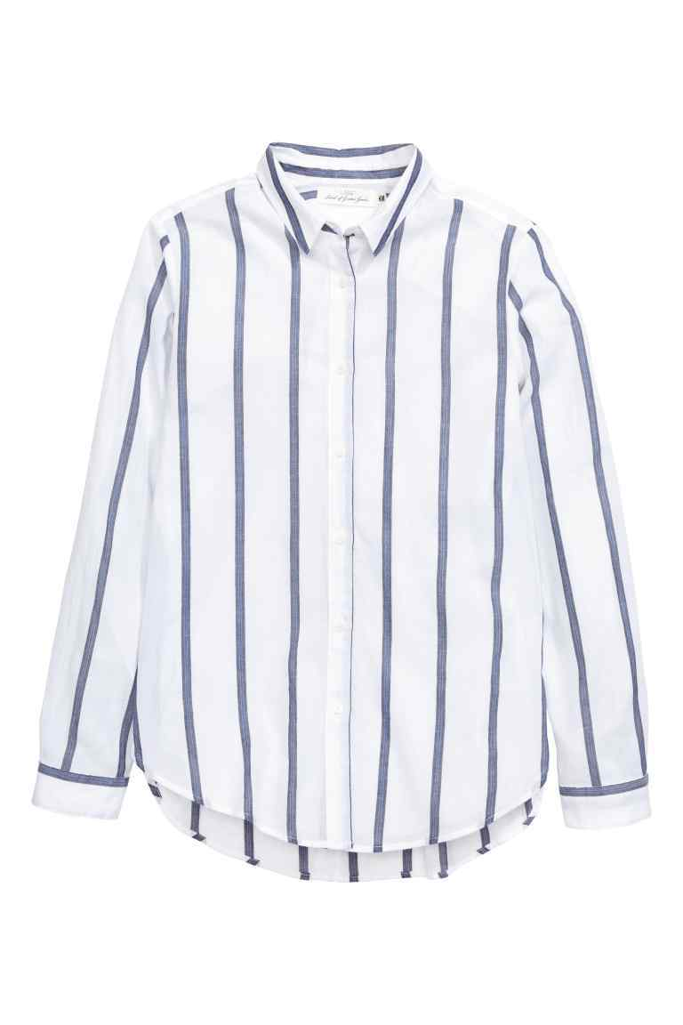 Cotton Shirt - neckline: shirt collar/peter pan/zip with opening; pattern: vertical stripes; style: shirt; predominant colour: white; secondary colour: navy; occasions: casual, creative work; length: standard; fibres: cotton - 100%; fit: straight cut; sleeve length: long sleeve; sleeve style: standard; texture group: cotton feel fabrics; pattern type: fabric; pattern size: standard; season: s/s 2016; wardrobe: highlight
