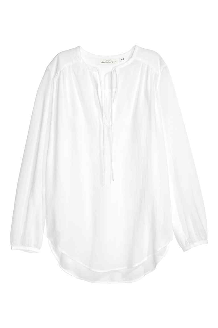 Blouse With A Tie - neckline: v-neck; pattern: plain; sleeve style: balloon; style: blouse; predominant colour: white; occasions: casual; length: standard; fibres: cotton - 100%; fit: loose; sleeve length: long sleeve; texture group: cotton feel fabrics; pattern type: fabric; season: s/s 2016