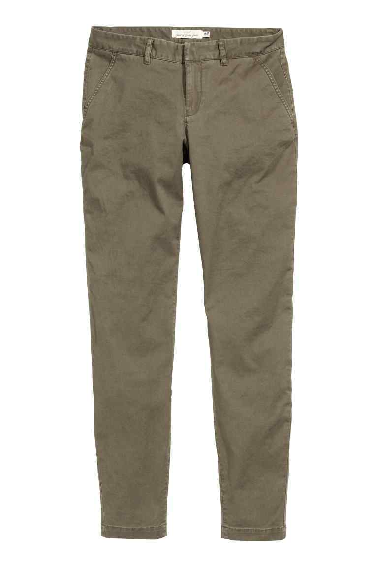 Chinos - length: standard; pattern: plain; waist: mid/regular rise; predominant colour: khaki; occasions: casual; style: chino; fibres: cotton - 100%; texture group: cotton feel fabrics; fit: slim leg; pattern type: fabric; season: s/s 2016
