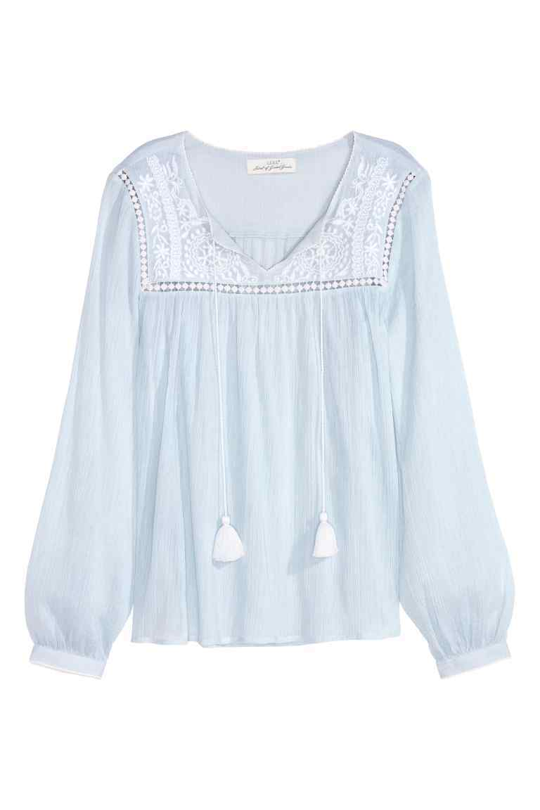 Embroidered Cotton Blouse - neckline: v-neck; sleeve style: balloon; style: blouse; secondary colour: white; predominant colour: pale blue; occasions: casual, creative work; length: standard; fibres: cotton - 100%; fit: loose; shoulder detail: added shoulder detail; sleeve length: long sleeve; texture group: cotton feel fabrics; pattern type: fabric; pattern size: standard; pattern: florals; embellishment: embroidered; season: s/s 2016; wardrobe: highlight