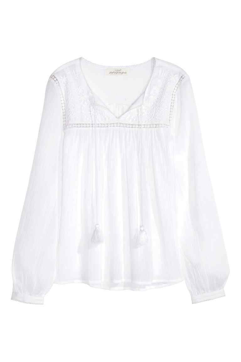 Embroidered Cotton Blouse - neckline: v-neck; pattern: plain; sleeve style: balloon; style: blouse; predominant colour: white; occasions: casual, creative work; length: standard; fibres: cotton - 100%; fit: body skimming; sleeve length: long sleeve; texture group: cotton feel fabrics; pattern type: fabric; embellishment: embroidered; season: s/s 2016; wardrobe: highlight