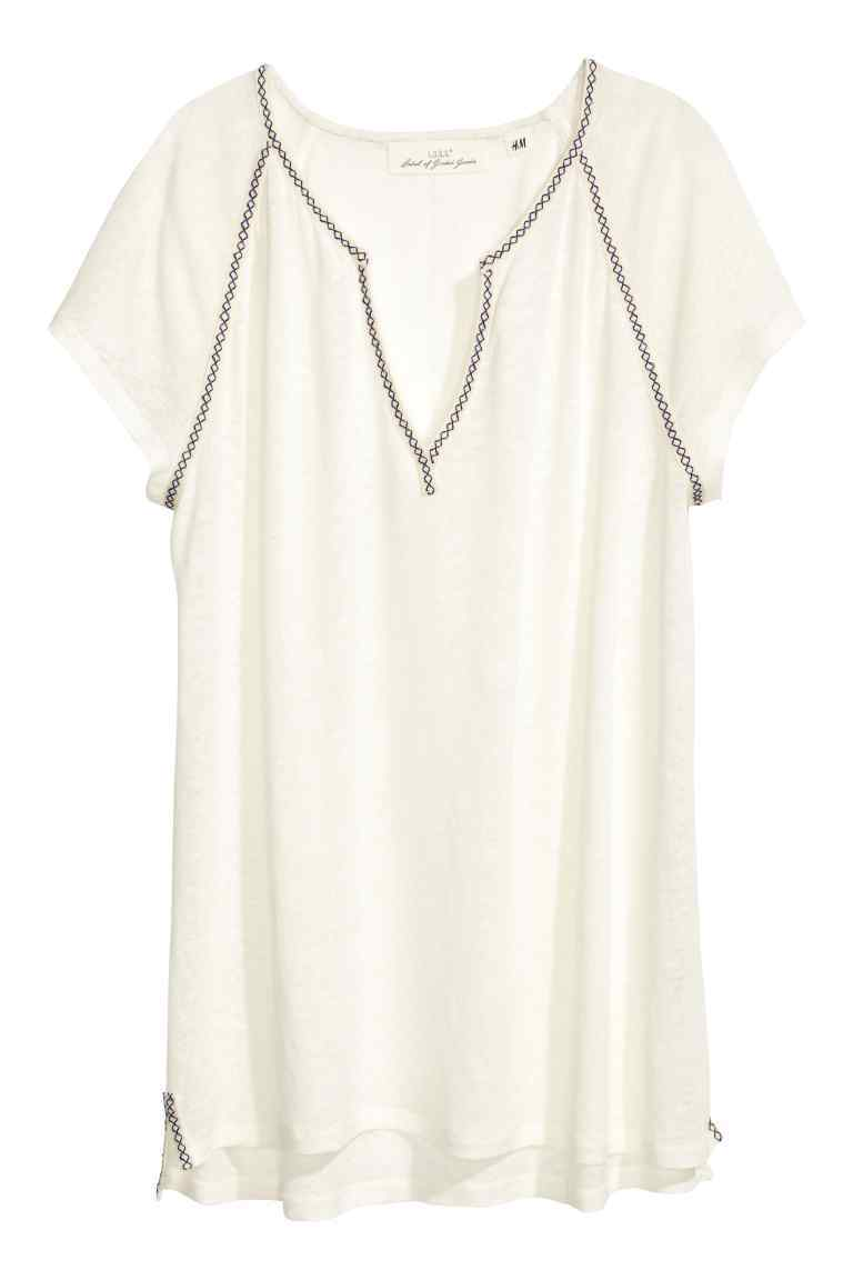 Top In A Linen Blend - pattern: plain; predominant colour: ivory/cream; occasions: casual; length: standard; style: top; neckline: collarstand & mandarin with v-neck; fibres: linen - mix; fit: straight cut; sleeve length: short sleeve; sleeve style: standard; texture group: linen; pattern type: fabric; season: s/s 2016; wardrobe: basic
