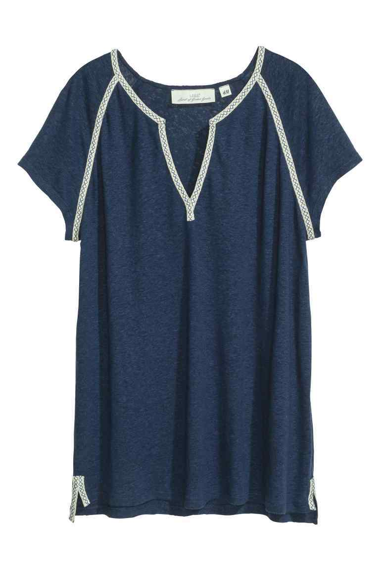 Top In A Linen Blend - pattern: plain; predominant colour: navy; occasions: casual; length: standard; style: top; neckline: collarstand & mandarin with v-neck; fibres: linen - mix; fit: straight cut; sleeve length: short sleeve; sleeve style: standard; texture group: linen; pattern type: fabric; season: s/s 2016; wardrobe: basic