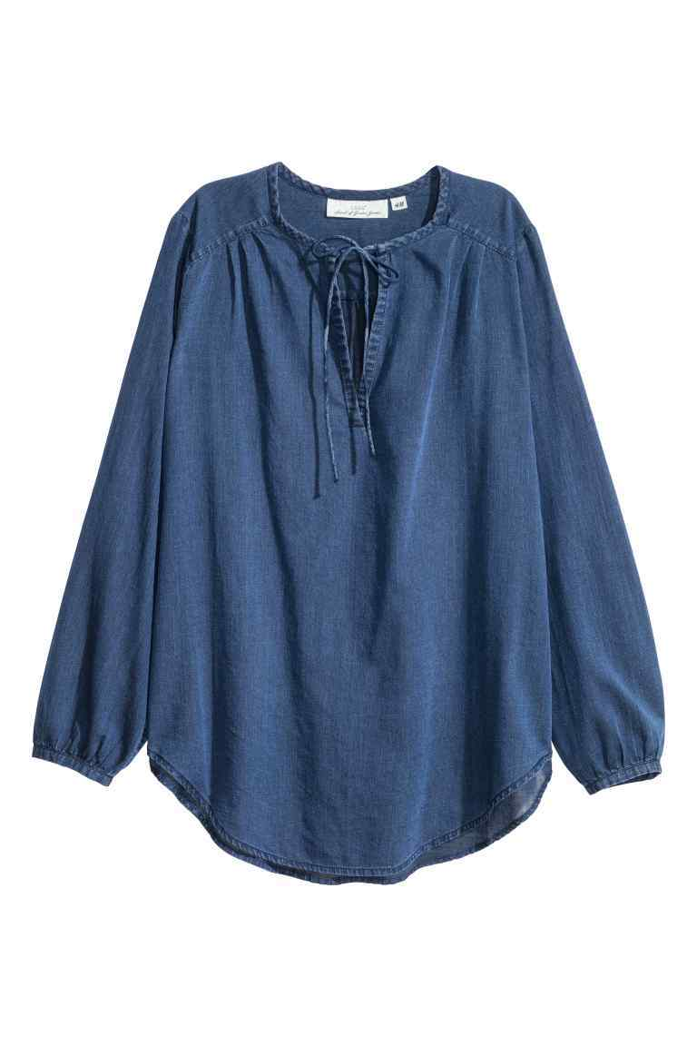 Cotton Blouse - pattern: plain; sleeve style: balloon; style: blouse; predominant colour: royal blue; occasions: casual, creative work; length: standard; neckline: peep hole neckline; fibres: cotton - 100%; fit: loose; sleeve length: long sleeve; texture group: cotton feel fabrics; pattern type: fabric; season: s/s 2016; wardrobe: highlight