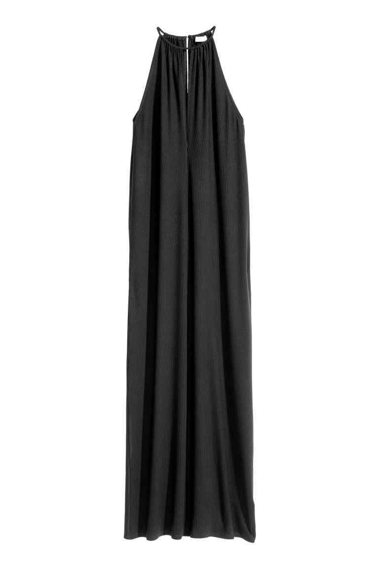 Lyocell Maxi Dress - fit: loose; pattern: plain; sleeve style: sleeveless; style: maxi dress; length: ankle length; predominant colour: charcoal; occasions: casual, holiday; fibres: polyester/polyamide - stretch; hip detail: subtle/flattering hip detail; sleeve length: sleeveless; pattern type: fabric; texture group: jersey - stretchy/drapey; season: s/s 2016; neckline: high halter neck; wardrobe: basic