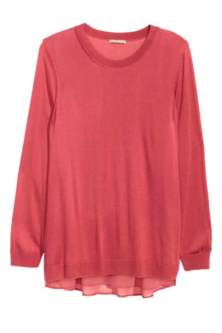 + Jumper With Chiffon Top - neckline: round neck; pattern: plain; length: below the bottom; style: standard; predominant colour: coral; occasions: casual, creative work; fibres: polyester/polyamide - 100%; fit: loose; sleeve length: long sleeve; sleeve style: standard; texture group: knits/crochet; pattern type: knitted - fine stitch; season: s/s 2016; wardrobe: highlight