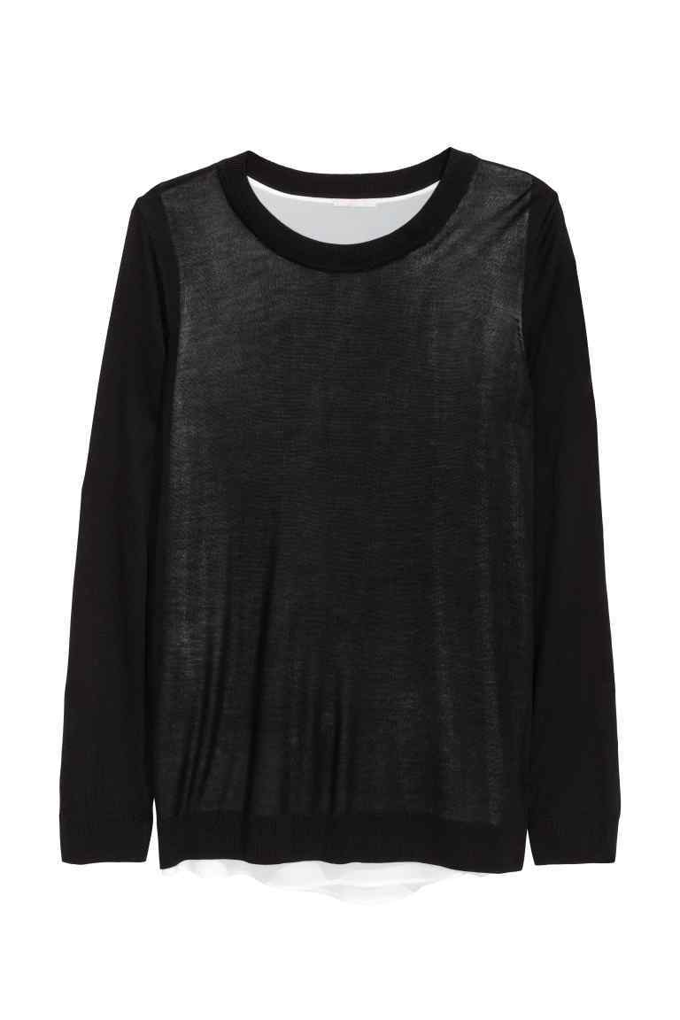 + Jumper With Chiffon Top - neckline: round neck; pattern: plain; length: below the bottom; style: standard; predominant colour: black; occasions: casual, creative work; fibres: polyester/polyamide - 100%; fit: loose; sleeve length: long sleeve; sleeve style: standard; texture group: knits/crochet; pattern type: knitted - fine stitch; season: s/s 2016; wardrobe: basic