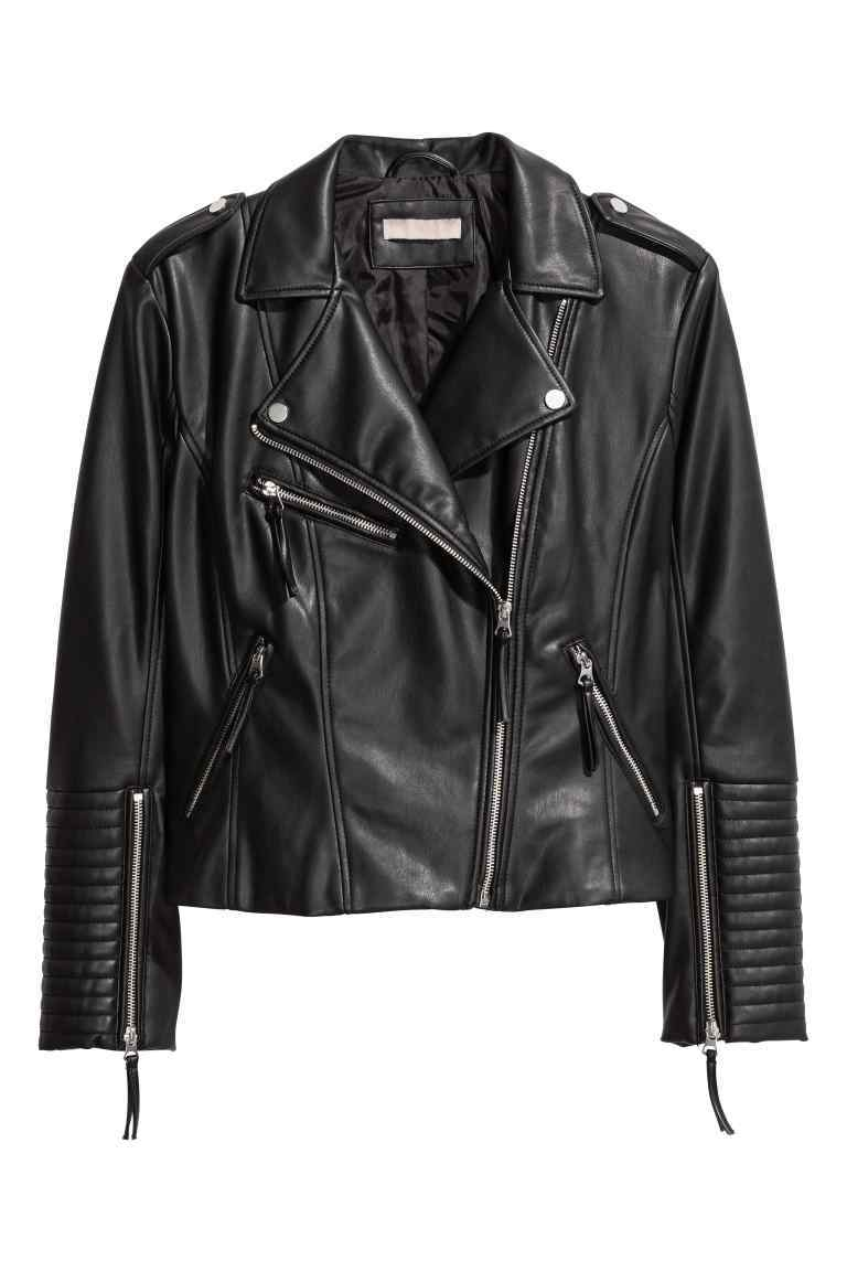 + Biker Jacket - pattern: plain; style: biker; collar: asymmetric biker; fit: slim fit; predominant colour: black; occasions: casual; length: standard; fibres: polyester/polyamide - 100%; sleeve length: long sleeve; sleeve style: standard; texture group: leather; collar break: medium; pattern type: fabric; season: s/s 2016; wardrobe: basic