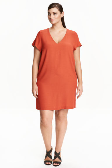 Crêpe Dress - style: shift; length: mid thigh; neckline: v-neck; pattern: plain; predominant colour: terracotta; occasions: evening, creative work; fit: straight cut; fibres: polyester/polyamide - 100%; sleeve length: short sleeve; sleeve style: standard; texture group: crepes; pattern type: fabric; season: s/s 2016