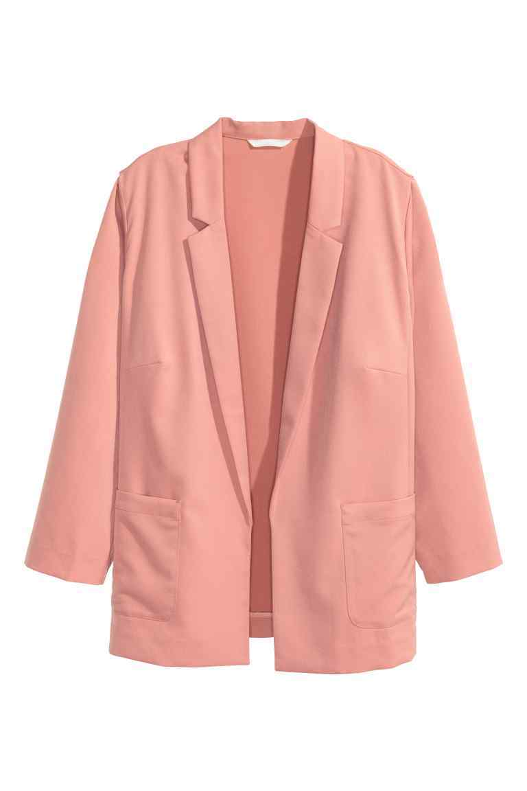 + Jacket - pattern: plain; style: single breasted blazer; length: below the bottom; collar: standard lapel/rever collar; predominant colour: blush; occasions: casual, creative work; fit: tailored/fitted; fibres: polyester/polyamide - 100%; sleeve length: long sleeve; sleeve style: standard; texture group: crepes; collar break: low/open; pattern type: fabric; season: s/s 2016; wardrobe: basic