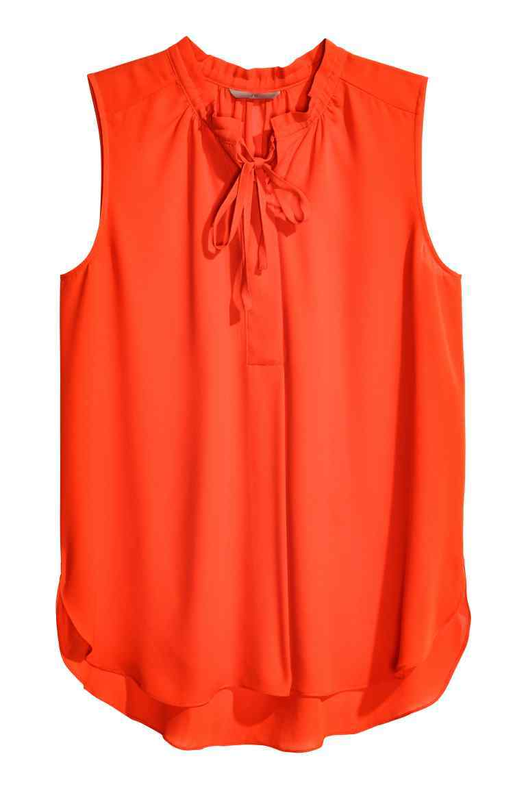 + Sleeveless Chiffon Blouse - pattern: plain; sleeve style: sleeveless; neckline: pussy bow; style: blouse; predominant colour: bright orange; occasions: casual, creative work; length: standard; fibres: polyester/polyamide - 100%; fit: straight cut; back detail: longer hem at back than at front; sleeve length: sleeveless; texture group: sheer fabrics/chiffon/organza etc.; pattern type: fabric; season: s/s 2016; wardrobe: highlight