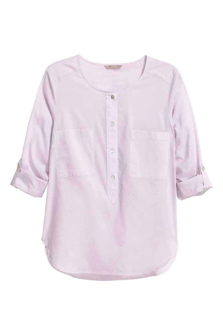 + Cotton Blouse - neckline: round neck; pattern: plain; style: blouse; predominant colour: lilac; occasions: casual, creative work; length: standard; fibres: cotton - 100%; fit: straight cut; sleeve length: half sleeve; sleeve style: standard; texture group: cotton feel fabrics; pattern type: fabric; season: s/s 2016; wardrobe: highlight