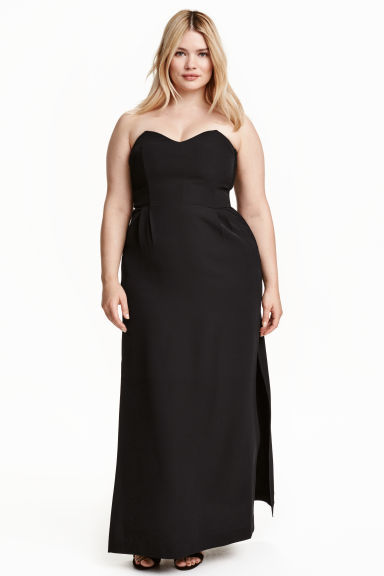 + Bandeau Maxi Dress - neckline: strapless (straight/sweetheart); pattern: plain; style: maxi dress; sleeve style: strapless; length: ankle length; predominant colour: black; occasions: evening; fit: fitted at waist & bust; fibres: polyester/polyamide - 100%; sleeve length: sleeveless; texture group: crepes; pattern type: fabric; season: s/s 2016; wardrobe: event