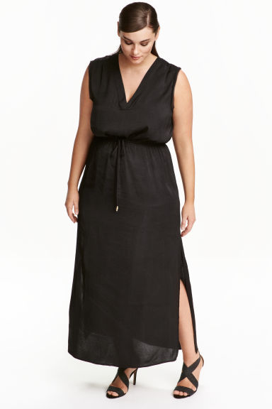 + Satin Maxi Dress - neckline: low v-neck; fit: fitted at waist; pattern: plain; sleeve style: sleeveless; style: maxi dress; length: ankle length; hip detail: draws attention to hips; waist detail: belted waist/tie at waist/drawstring; predominant colour: black; occasions: evening; fibres: polyester/polyamide - 100%; sleeve length: sleeveless; texture group: silky - light; pattern type: fabric; season: s/s 2016; wardrobe: event