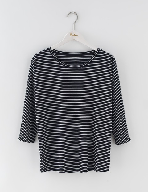 Supersoft Oversized Top Black/Ivory Stripe Women, Black/Ivory Stripe - neckline: round neck; pattern: horizontal stripes; secondary colour: ivory/cream; predominant colour: black; occasions: casual; length: standard; style: top; fibres: cotton - 100%; fit: body skimming; sleeve length: 3/4 length; sleeve style: standard; trends: monochrome; pattern type: fabric; texture group: jersey - stretchy/drapey; multicoloured: multicoloured; season: s/s 2016; wardrobe: basic