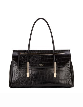 Flap Over Tote - predominant colour: black; occasions: work, creative work; type of pattern: standard; style: shoulder; length: shoulder (tucks under arm); size: standard; material: leather; pattern: plain; finish: plain; season: s/s 2016; wardrobe: investment