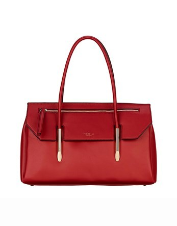Flap Over Tote - predominant colour: true red; occasions: work, creative work; type of pattern: standard; style: tote; length: shoulder (tucks under arm); size: standard; material: leather; pattern: plain; finish: plain; season: s/s 2016