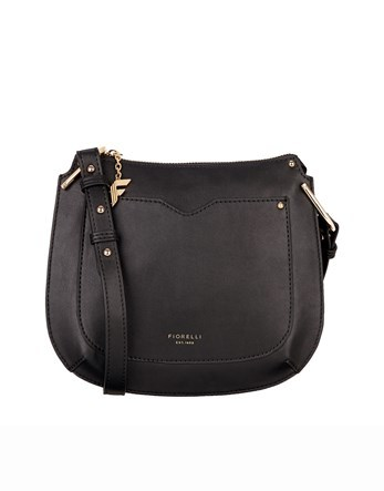 Saddle Crossbody Bag - predominant colour: black; occasions: casual; type of pattern: standard; style: messenger; length: across body/long; size: small; material: leather; pattern: plain; finish: plain; season: s/s 2016; wardrobe: basic