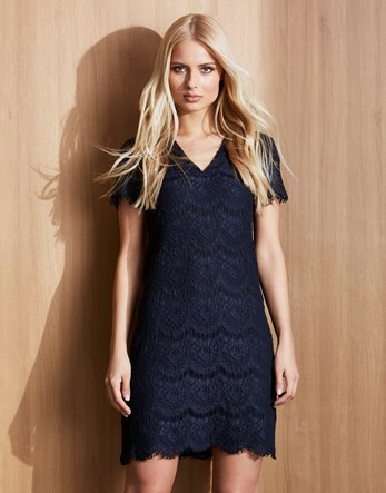 V Neck Lace Dress - style: shift; neckline: v-neck; predominant colour: black; occasions: evening; length: just above the knee; fit: body skimming; fibres: cotton - mix; sleeve length: short sleeve; sleeve style: standard; texture group: lace; pattern type: fabric; pattern: patterned/print; season: s/s 2016