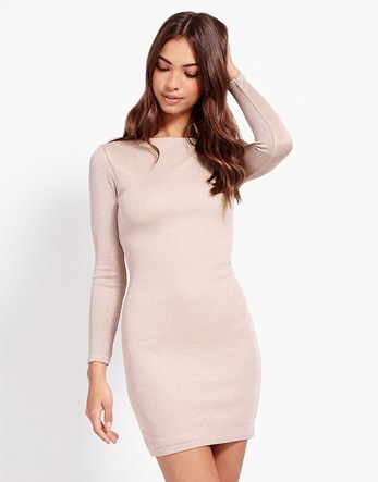 Glitter Cowl Back Dress - length: mid thigh; neckline: slash/boat neckline; fit: tight; pattern: plain; style: bodycon; predominant colour: blush; occasions: evening; fibres: polyester/polyamide - stretch; sleeve length: long sleeve; sleeve style: standard; texture group: jersey - clingy; pattern type: fabric; season: s/s 2016; wardrobe: event