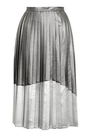 Asymmetric Pleat Midi Skirt - length: below the knee; fit: loose/voluminous; style: pleated; waist: high rise; predominant colour: silver; secondary colour: charcoal; occasions: evening, occasion; fibres: polyester/polyamide - 100%; hip detail: adds bulk at the hips; waist detail: feature waist detail; texture group: silky - light; pattern type: fabric; pattern: colourblock; pattern size: standard (bottom); trends: pretty girl, metallics; season: s/s 2016; wardrobe: event