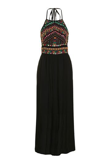 Embellished Maxi By Glamorous - sleeve style: spaghetti straps; pattern: plain; style: maxi dress; length: ankle length; bust detail: added detail/embellishment at bust; back detail: low cut/open back; secondary colour: hot pink; predominant colour: black; occasions: evening; fit: soft a-line; fibres: polyester/polyamide - 100%; sleeve length: sleeveless; neckline: medium square neck; pattern type: fabric; texture group: woven light midweight; embellishment: beading; multicoloured: multicoloured; season: s/s 2016