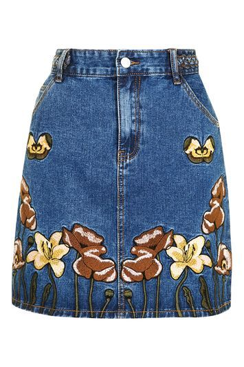 Embroidered Denim Skirt By Glamorous - length: mini; style: straight; fit: tailored/fitted; waist: high rise; predominant colour: navy; secondary colour: tan; occasions: casual; fibres: cotton - stretch; texture group: denim; pattern type: fabric; pattern: florals; embellishment: embroidered; pattern size: standard (bottom); season: s/s 2016; wardrobe: highlight