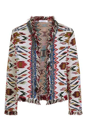 Aztec Jacquard Blazer By Glamorous - collar: round collar/collarless; style: boxy; predominant colour: white; secondary colour: true red; occasions: casual, creative work; length: standard; fit: straight cut (boxy); fibres: polyester/polyamide - 100%; sleeve length: long sleeve; sleeve style: standard; collar break: low/open; pattern type: fabric; pattern size: light/subtle; pattern: patterned/print; texture group: brocade/jacquard; multicoloured: multicoloured; season: s/s 2016; wardrobe: highlight