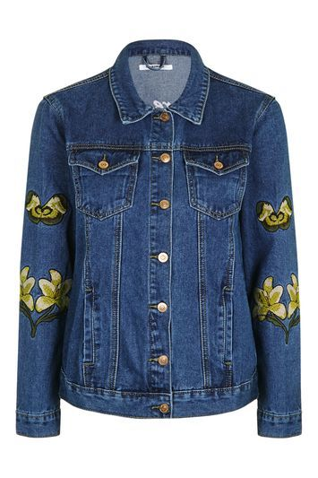 Embroidered Denim Jacket By Glamorous - style: denim; predominant colour: navy; secondary colour: lime; occasions: casual; length: standard; fit: straight cut (boxy); fibres: cotton - stretch; collar: shirt collar/peter pan/zip with opening; sleeve length: long sleeve; sleeve style: standard; texture group: denim; collar break: high/illusion of break when open; pattern type: fabric; pattern: patterned/print; embellishment: embroidered; season: s/s 2016; wardrobe: highlight; embellishment location: bust