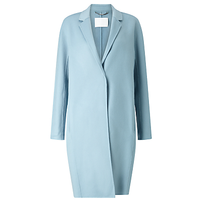 Boss Coatina Wool Cashmere Coat, Powder Blue - pattern: plain; style: single breasted; collar: standard lapel/rever collar; length: mid thigh; predominant colour: pale blue; fit: tailored/fitted; fibres: wool - mix; sleeve length: long sleeve; sleeve style: standard; collar break: medium; pattern type: fabric; texture group: woven bulky/heavy; occasions: creative work; season: s/s 2016; wardrobe: highlight
