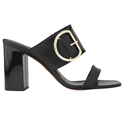 Fairhope Double Strap Mule Sandals - secondary colour: gold; predominant colour: black; occasions: evening; material: leather; heel height: high; embellishment: buckles; heel: block; toe: open toe/peeptoe; style: standard; finish: patent; pattern: plain; season: s/s 2016; wardrobe: event
