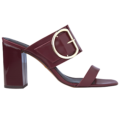 Fairhope Double Strap Mule Sandals - predominant colour: burgundy; secondary colour: gold; occasions: casual, creative work; material: leather; heel height: high; embellishment: buckles; heel: block; toe: open toe/peeptoe; style: mules; finish: patent; pattern: plain; season: s/s 2016; wardrobe: highlight