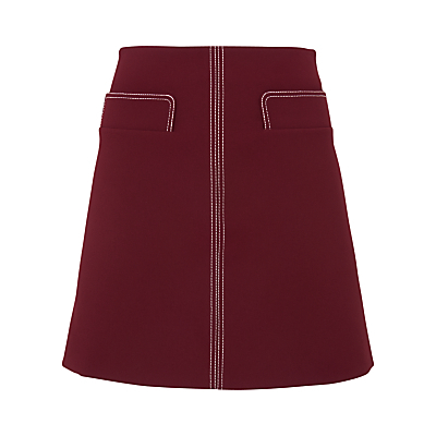 Rita Contrast Stitch Skirt, Burgundy - pattern: plain; fit: loose/voluminous; waist: mid/regular rise; predominant colour: burgundy; occasions: casual, creative work; length: just above the knee; style: a-line; fibres: polyester/polyamide - 100%; pattern type: fabric; texture group: woven light midweight; season: s/s 2016