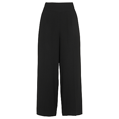 Fluid Cropped Trousers, Black - pattern: plain; style: palazzo; waist: high rise; predominant colour: black; length: ankle length; texture group: crepes; fit: wide leg; pattern type: fabric; fibres: viscose/rayon - mix; occasions: creative work; season: s/s 2016; wardrobe: basic